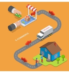 E-commerce flat isometric concept vector