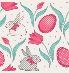 Easter bunny and tulips floral seamless pattern vector