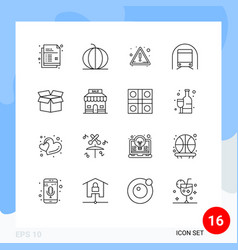 Editable line pack 16 simple outlines box vector