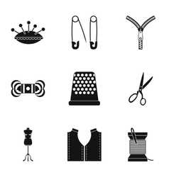 Embroidery kit icons set simple style vector image