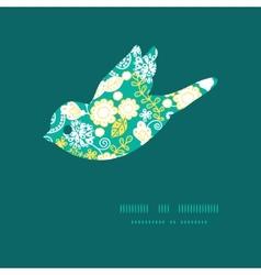 Emerald flowerals bird silhouette pattern vector