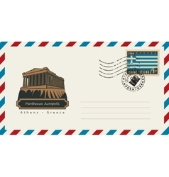 Envelope with a postage stamp with Parthenon vector