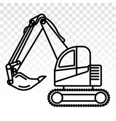 Excavator heavy equipment line art icons vector