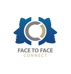 face to face human character connect logo concept vector image