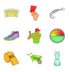 Fair game icons set cartoon style vector