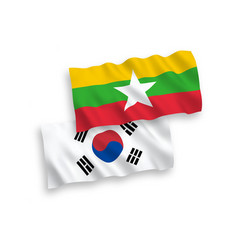 Flags south korea and myanmar on a white vector