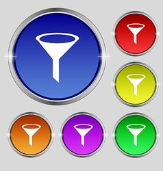 Funnel icon sign Round symbol on bright colourful vector