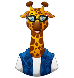 giraffe hipster in a jacket and sunglasses vector image