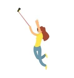 Girl Taking Selfie Jumping vector
