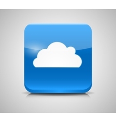 Glass Button with Cloud Icon vector image