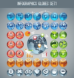 Globes icons set1 vector