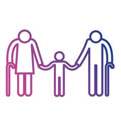 Grandparents couple with grandson avatars vector