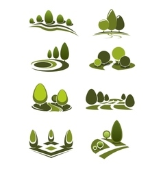 Green park and garden landscape icons vector