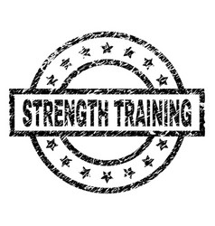 Grunge textured strength training stamp seal vector