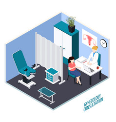 gynecology consultation isometric composition vector image