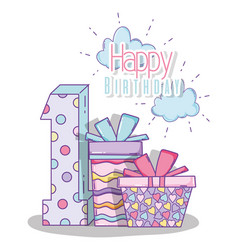 Happy birthday celebrate one year with presents vector