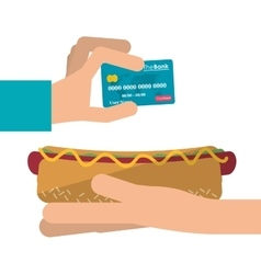 Hot dog and icon set of fast food concept vector image