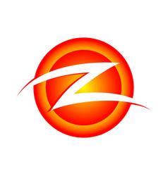 Initial z lettermark circular burning slash vector