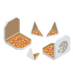 Isometric pizza triangle box slice slice fresh vector