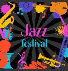 Jazz festival grunge background with musical vector