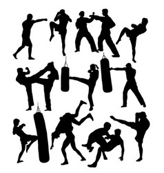 Karate judo and boxing silhouettes vector