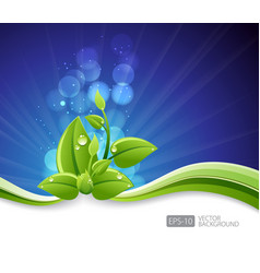 Lighting blue background with eco leaves and vector