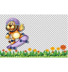 lion playing skateboard on transparent background vector image