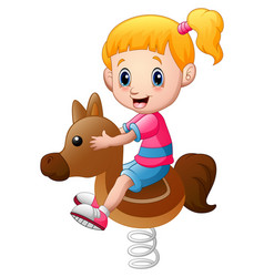 Little girl playing rocking horse vector