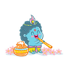 Little krishna in kawaii style vector