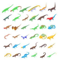 Lizard icons set isometric style vector