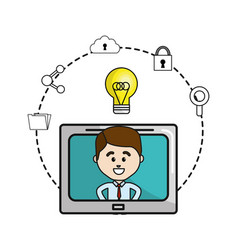 man inside of television with idea bulb and icons vector image