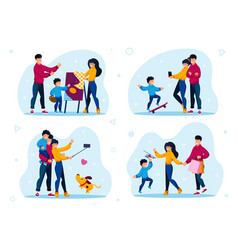 modern family recreation and leisure flat vector image