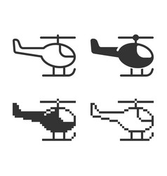 Monochromatic helicopter icon in different vector