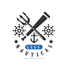 nautical logo original design retro emblem vector image