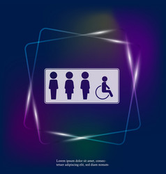 Neon light icon plate gender neutral toilet vector