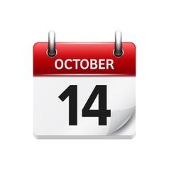 October 14 flat daily calendar icon date vector