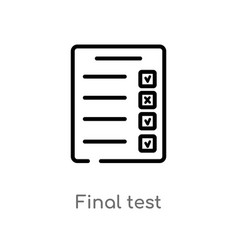 Outline final test icon isolated black simple vector