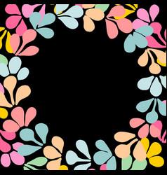 Pastel laurel wreath frame isolated on black vector