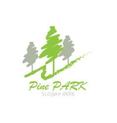 pine park logo design for golf place vector image