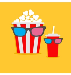 Popcorn box and soda glass characters in 3d vector