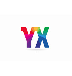rainbow colored alphabet combination letter yx y vector image