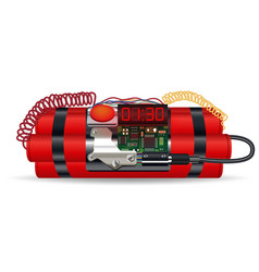 Red dynamite pack with electric time bomb vector