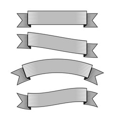 retro ribbon banners in hand drawn engraving style vector image