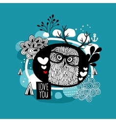 Romantic portrait of the owl in eyeglasses vector