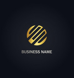 Round abstract connect gold logo vector