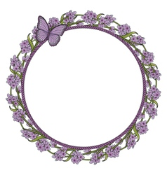 Round frame with lavender flowers and butterfly vector