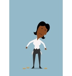 Sad businesswoman with empty pockets vector image