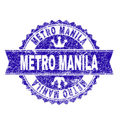 Scratched textured metro manila stamp seal with vector