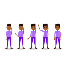 Set african teen boy character different poses vector