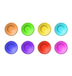 Set blank plates multicolored pottery clay or vector